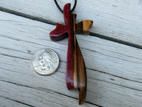 Wooden Cross Necklace - Brazilian Purpleheart & African Zebrawood: Large