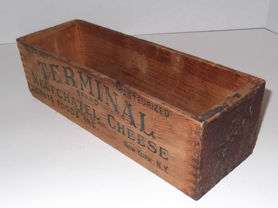Antique Wooden Cheese Box, Terminal Brand