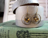 antique brass loop and faceted golden glass bead earrings