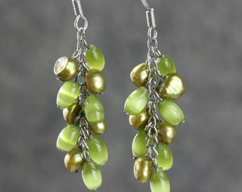 Lime green dangling chandelier Earrings Bridesmaid gifts Free US Shipping handmade Anni designs