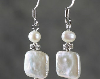 Square pearl drop earrings Bridesmaids gifts Free US Shipping handmade Anni Designs