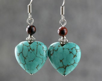 Turquoise heart drop earrings Bridesmaids gifts Free US Shipping handmade Anni Designs