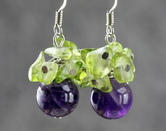 Amethyst peridot grape drop earrings Free US Shipping handmade Anni Designs