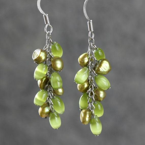 Lime green dangling chandelier Earrings by AnniDesignsllc ...