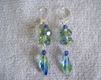 Pastel Blue and Green Dangle Earrings