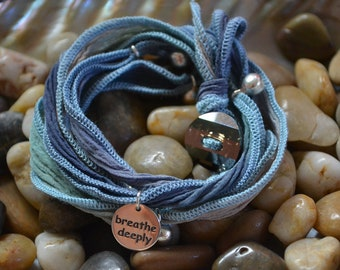 SALE! Hand Dyed Silk Yoga Bracelet with Sterling Silver Accents (Blue Denim)