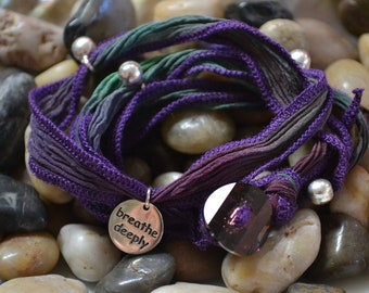 """SALE! Hand Dyed Silk Yoga Bracelet with Sterling Silver """"Breathe Deeply"""" (Mixed Gems)"""
