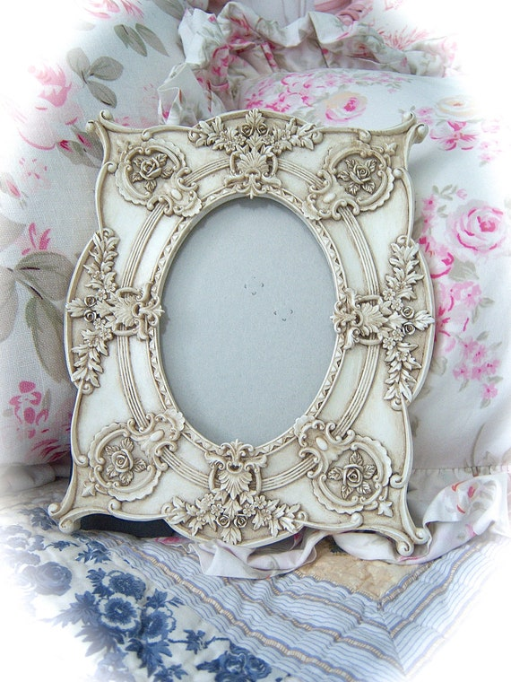 Shabby ORNATE Barbola Style ROSES French Country SCALLOPED Picture Photo Frame