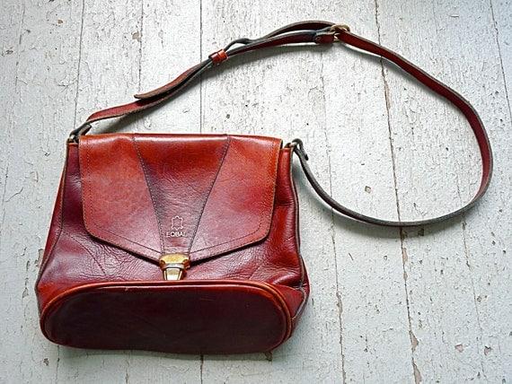 1970s Eqbal Oxblood and Gold Leather Bucket Handbag