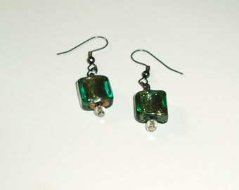 Green Glass Earrings - Simple Lovely Glass Square Beads hung from Brass Ear Wires
