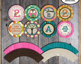 Owl Cupcake Toppers - Owl Party Cupcake Toppers & Wrappers - Printable (Woodland, Night Owl, Owl Birthday, Pajama Party)