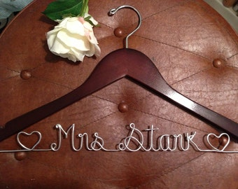 Bridal wedding hanger, Personalized  hanger, wire hanger,  wedding dress hanger with hearts