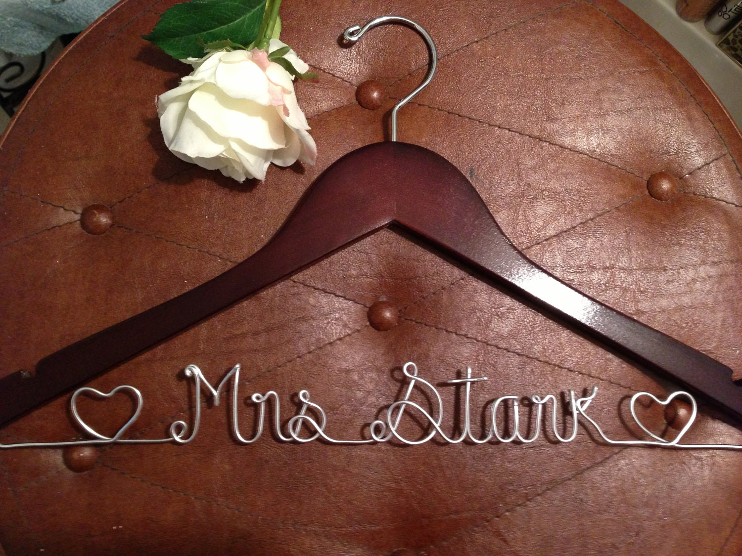 Bridal wedding hanger personalized hanger wire by for Personalized wire wedding dress hanger