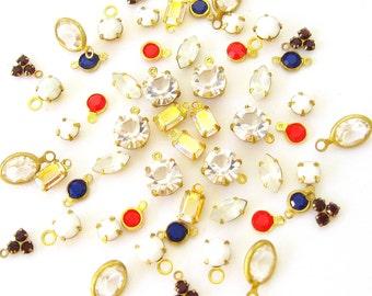 BIG LOT 9 colors Crystal Drops Supplies - 54 Pieces Austrian Crystal drops  Combo 2 - Jewelry Supplies Components Findings