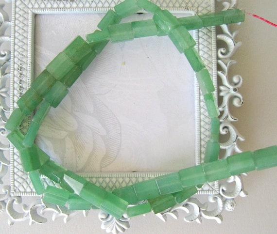 Jade rectangle beads-semiprecious gemstones-jewelry supplies- Natural Jade Green 8mm Precise cut full strand Semiprecious beads