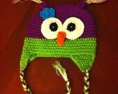 toddler girl owl hat /girl hat / toddler hat / size 24 months to 4 years old READY TO SHIP