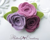 Cluster of 3 Purple Lilac, Foxglove and Mulberry Plum Wool Felt Flower Rosettes Hair Clip -Photo Shoot, Girl Hair Clip, Baby, School, Ladies