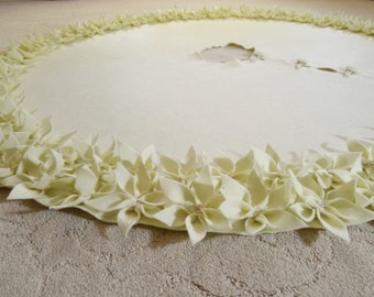 """60"""" Christmas Tree Skirt in Ivory felt with a double row of hand cut and hand sewn flowers at the hem. FREE SHIPPING"""