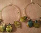 Big Lime Green Shell  Earrings