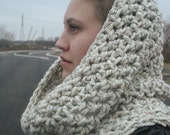 the camden - crochet chunky wool hooded infinity scarf cowl - choose the color - free US shipping