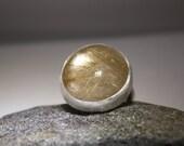 Beautiful Rutilated Quartz Ring in Matte Sterling  Silver