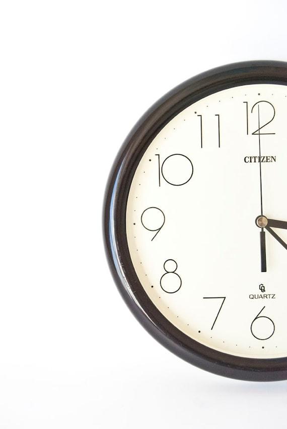 Citizen Quartz Wall Clock Battery Operated Black & White Plastic Modern Home Office Decor Gift for Him
