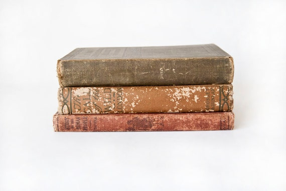 Vintage Rustic Books Set of Three Display Decor Props