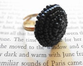 Vintage Black Beaded Button Cocktail Ring on Adjustable Silver Ring