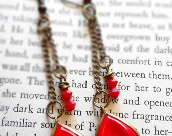 Vintage Glass Petal Dangle Earrings in Red with Red Swaroski Glass Beads