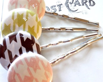 Houndstooth Bobby Pin Set in Chocolate, Pink, and Lime Green