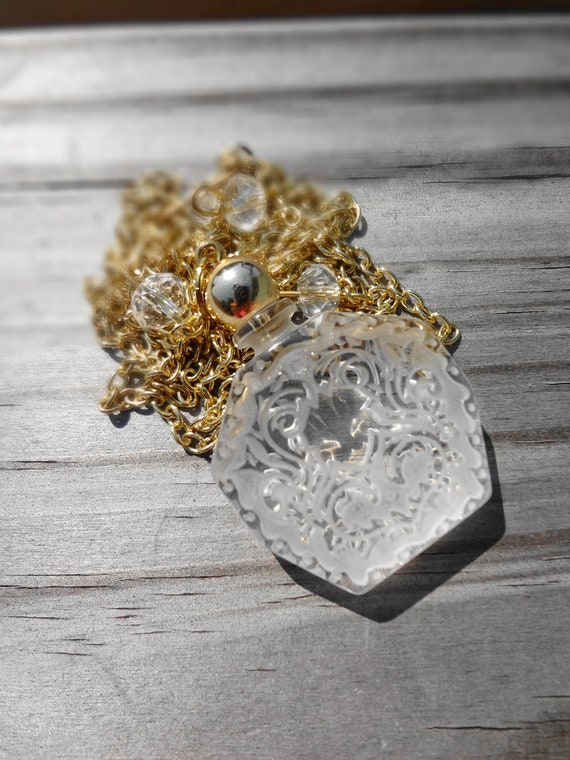 Vintage Perfume Bottle Necklace Clear Etched Design on Gold Chain OOAK Necklace
