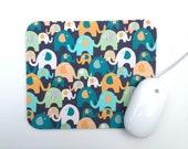 Elephant Mouse Pad / Aqua, Orange, Gray, Blue / Kids / Modern Home Office Decor / Black Friday Etsy