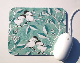 Mouse Pad Chickadee Bird / Holiday Home Gift / Custom Printed Fabric / Office Decor