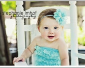 CLEARANCE Lace romper - AQUA - Photography Prop - With or without straps