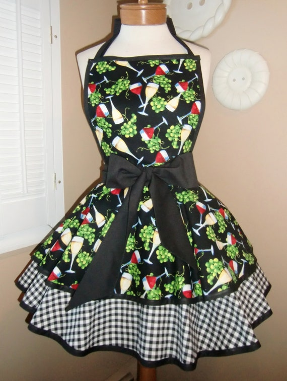 Wine Print Accented With Black and White Gingham Womans Retro Apron With Tiered Skirt And Bib...Ready To Ship