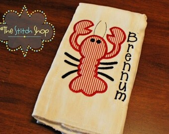 Crawfish Monogrammed and Appliqued Burp Cloth