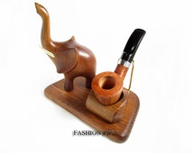 """New Exceptional Wooden Pipe Stand for Tobacco Smoking Pipe . Handmade Ash-Tree """"BLOWING ELEPHANT"""".....LIMITED Edition....."""