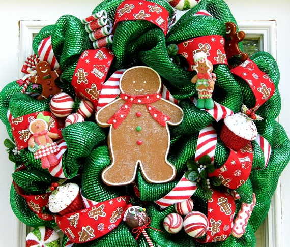 Gingerbread Mesh Wreath Sweets Candy