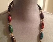 Vintage 80's Red Green Purple Tiger strip Voodoo Pearl stone  necklace Steam punk Psychobilly Halloween costume
