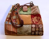 Reserved: Upcycled Bag in Camel, Green and Red Tones