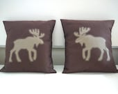 """Eco friendly """"mini moose"""" appliqued pillow made from recycled fabrics - beige and brown tones"""