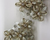 Vintage Clip Haskell style crystal Rhinestone White Flower Earrings BeauJewels Haskell Style Clip Ons