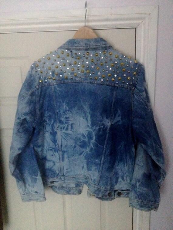 items similar to studded and bedazzled acid wash denim jacket medium on etsy