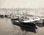 Fishing Boats Harbor Piscataqua River Vintage Feel Black and White Portsmouth NH Dock Ocean Coastal Art,  Fine Art Print