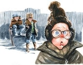 Watercolor illustration of the classic movie A Christmas Story.