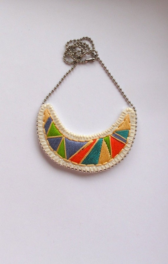 Geometric crescent pendant embroidered necklace in pretty green purple blue and pink tribal summer fashion