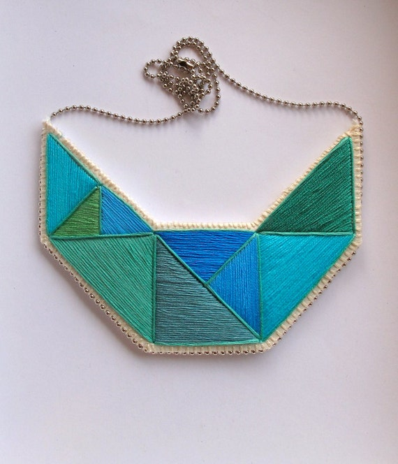Blue geometric necklace embroidered Fall fashion blues and greens