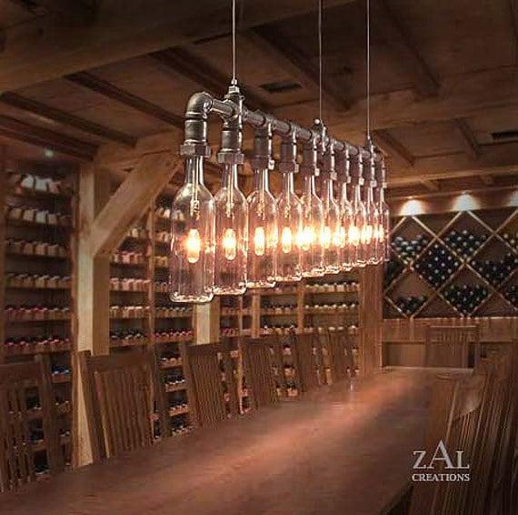 Wine Bottles Suspension Lamp. Pendant Light.