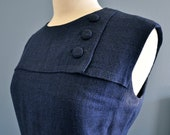 RESERVED FOR HEATHER - Navy Tweed Vintage Dress