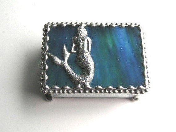 Stained Glass Jewelry Box - Mermaid Design - Blue/Green Mix  - Handcrafted - Made in USA